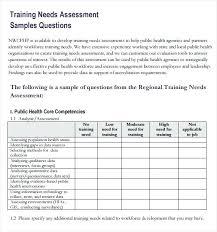 Sample Assessment Form School Needs Assessment Template Training Needs Assessment Samples
