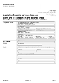 Loss And Profit Form Form Fs70 Australian Financial Services Licensee Profit