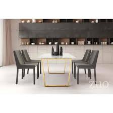 zuo modern atlas 5pc dining table set in stone and gold