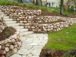 terraced fieldstone retaining walls in mequon wisconsin