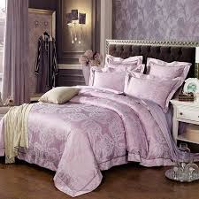 lilac and silver meval pattern indian moroccan style old fashion jacquard satin full queen size bedding sets