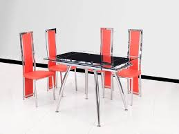 black extending glass dining table and 4 red chairs set