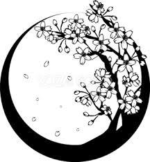 おしゃれな白黒の桜の木和フレーム春の無料イラスト円丸イメージ