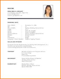 Sample Resume Student Biodata Format Therpgmovie