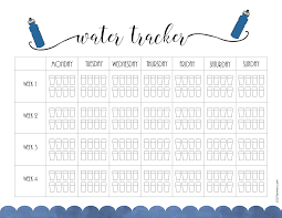 Day Tracker Planner Free Printable Water Intake Chart