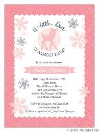 Snowflake Baby Shower Invitations Pink Deer Snowflake Baby Shower Invitation Girl Baby Shower