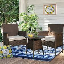 3pcs outdoor wicker chair set rattan