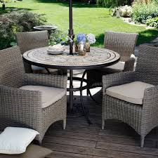 new york rattan outdoor garden furniture round table sofa parasol set view larger