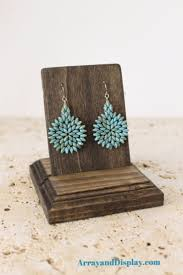 Wood earring display stand with removable card for a single set of wire or  post earrings. Product shown here in brown (Ash) stain.