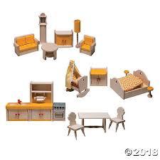 17 Piece Wooden Dollhouse Furniture Set