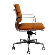 bedroomterrific eames inspired tan brown leather short back soft pad style desk chair executive office p bedroomterrific eames inspired tan brown leather short