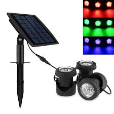 Underwater Solar Led Lights Powstro 3pcs Solar Powered Spotlights Leds Super Bright Solar Powered Submersible Lamps Rgb Color Changing Projection Light Outdoor Led Landscape