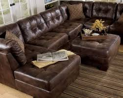 furniture classic brown leather sectional tufted couch with chaise and ottoman table excellent leather couch with chaise designs