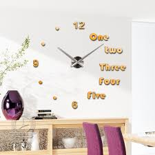 Small Picture Fashion 3D big size mirror wall stickers clock Modern design DIY