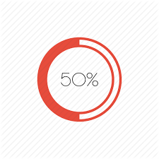 50 Percent Pie Chart Flat Infographic Graphs Charts Vol 1 By Souvik Bhattacharjee