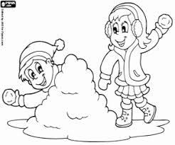 Kleurplaat Kinderen En Sneeuwballen Kleurplaten