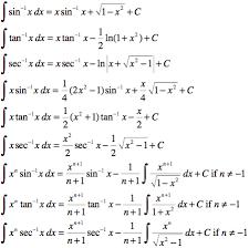 Integrals Of Inverse Trigonometric Functions Math Formulas
