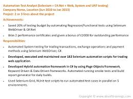 Automation Test Analyst (Selenium ...