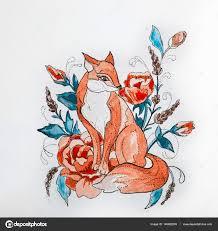 эскиз лиса с цветами эскиз лисы в цветы на белом фоне стоковое
