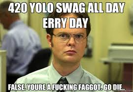 420 YOLO SWAG ALL DAY ERRY DAY FALSE. YOURE A FUCKING FAGGOT. GO ... via Relatably.com