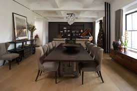 unusual home dining room industrial with coffered ceiling dark wood grand piano natural lighting