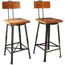 Pair of Vintage Industrial Adjustable Wood and Metal Factory Shop Bar Stools  For Sale