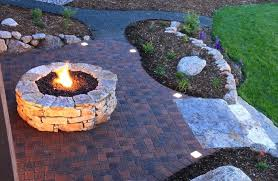 how to build a round brick fire pit round rock fire pit on brick patio overlooking