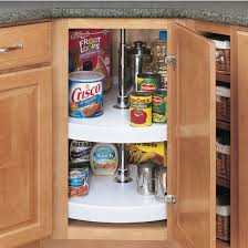 rev a shelf traditional full circle independently rotating 2 shelf polymer lazy susans for diagonal kitchen corner cabinet kitchensource com