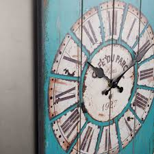 new wall clock wood antique vintage battery operated light blue kitchen bedroom