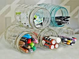 cheap office organization ideas. 1. Stack Mason Jars Cheap Office Organization Ideas