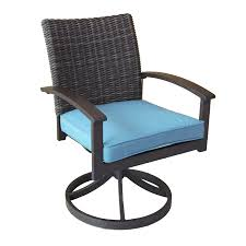 patio chairs rocking outdoor dining allen roth atworth set aluminum swivel with peacockblue cushions woven furniture