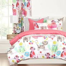 woodland creature bedding funny print kitty cat comforter set twin full queen bedding pink white woodland