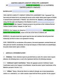 California Multi Member Llc Operating Agreement - Free Llc Operating ...