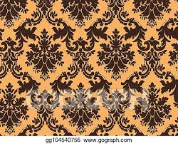 Gold Damask Background Eps Illustration Luxury Damask Background Vector Clipart