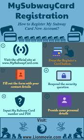 mysubwaycard registration activation guideline for my subway card holder