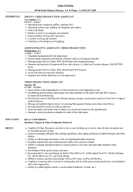 Video Production Resume Samples Video Production Assistant Resume Samples Velvet Jobs 22