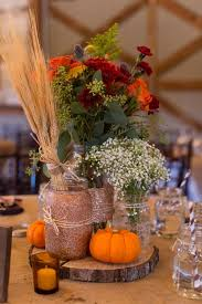 Fall Table Decorations With Mason Jars DIY Glitter Mason Jar Fall Wedding Centerpiece With Pumpkin And 14