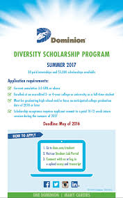 dominion diversity internship scholarship school of business diversity dominion