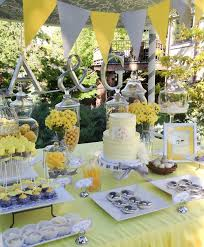 kara's party ideas yellow and gray wedding dessert table via Wedding Decorations Yellow And Gray yellow and gray wedding dessert table via kara's party ideas kara'spartyideas com wedding decorations yellow and gray