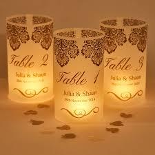Damask Wedding Table Number Luminaries