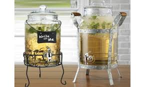 beverage dispenser mason jar with leak proof spigot and steel stand 2 sizes glass clear 2 gallon