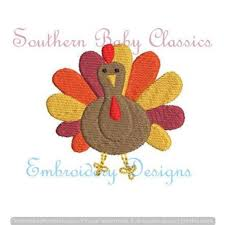 Mini Turkey Embroidery Design Thanksgiving Southern Baby Classics