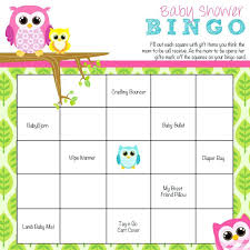 baby shower bingo owl baby shower bingo games free printable