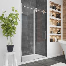 ove decors sydney 45 in to 47 5 in w frameless polished chrome sliding shower