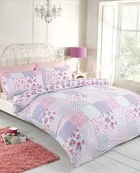 rapport elsa duvet set polyester cotton pink double co uk kitchen home