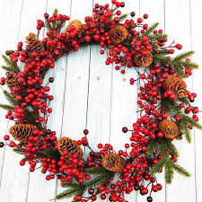 45cm wreath door decoration artificial foam red berry wreath with natural pine cone pendant wall