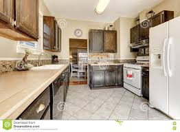 kitchens with white appliances. Kitchen Room - Dark Brown Cabinets And White Appliances Kitchens With A