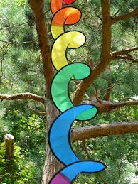 tree branch air spiral window glass wind trunk color colorful movement material stained glass sculpture art