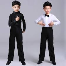 Shirts And Pants 2019 Kids White Black Latin Dance Shirts And Pants Suit Men Latin Dance Ballroom Competition Clothes Suit From Cpt1102 26 19 Dhgate Com