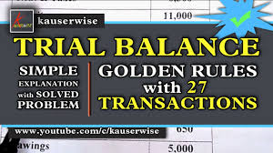 Simple Balances Trial Balance In Accounting 27 Transactions With Golden Rules Easy To Understand By Kauserwise
